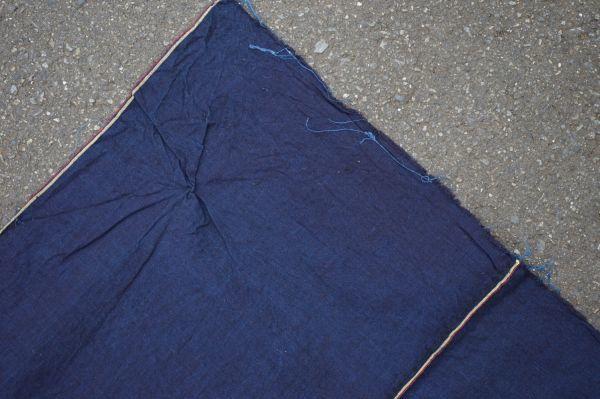 1449◆藍無地◆布団皮◆3幅◆木綿古布◆アンティーク◆リメイク素材◆_画像4