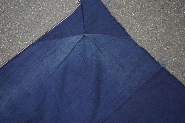 1449◆藍無地◆布団皮◆3幅◆木綿古布◆アンティーク◆リメイク素材◆_画像10