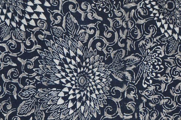 S41◆ボロ◆襤褸◆敷物◆藍染木綿古布◆藍無地◆格子◆型染め(菊唐草・グレー入り)◆6幅◆継ぎ接ぎ◆BORO_画像9