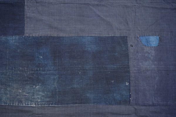 S41◆ボロ◆襤褸◆敷物◆藍染木綿古布◆藍無地◆格子◆型染め(菊唐草・グレー入り)◆6幅◆継ぎ接ぎ◆BORO_画像2