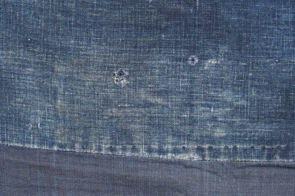 S41◆ボロ◆襤褸◆敷物◆藍染木綿古布◆藍無地◆格子◆型染め(菊唐草・グレー入り)◆6幅◆継ぎ接ぎ◆BORO_画像3