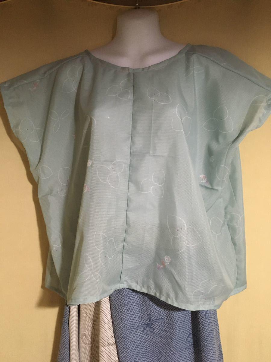 着物リメイク ハンドメイド 絽 緑 短め チュニック