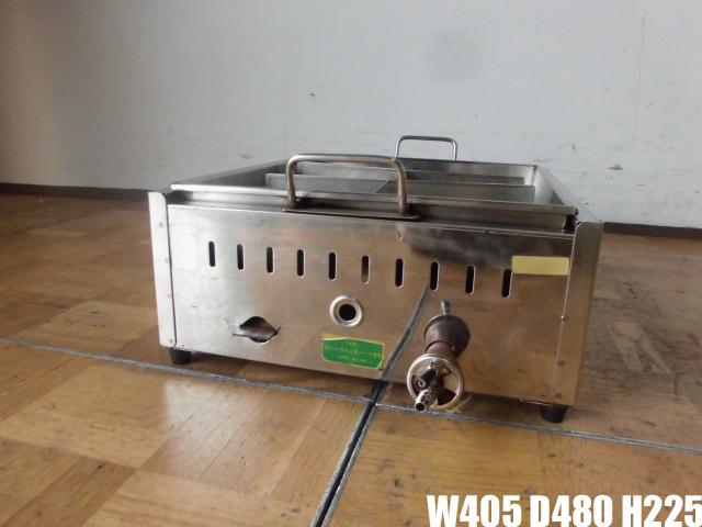 中古厨房 業務用 直火式 ステンレス おでん鍋 6ツ仕切り 都市ガス W405×D480×H225mm_画像1