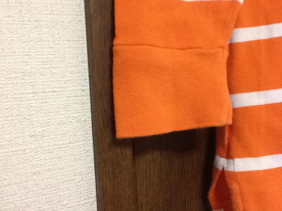 RALPH LAUREN SPOTS ラルフローレン スポーツ 長袖ポロシャツ レディース XS スキニーポロ オレンジ/ホワイト ワンポイント 刺繍