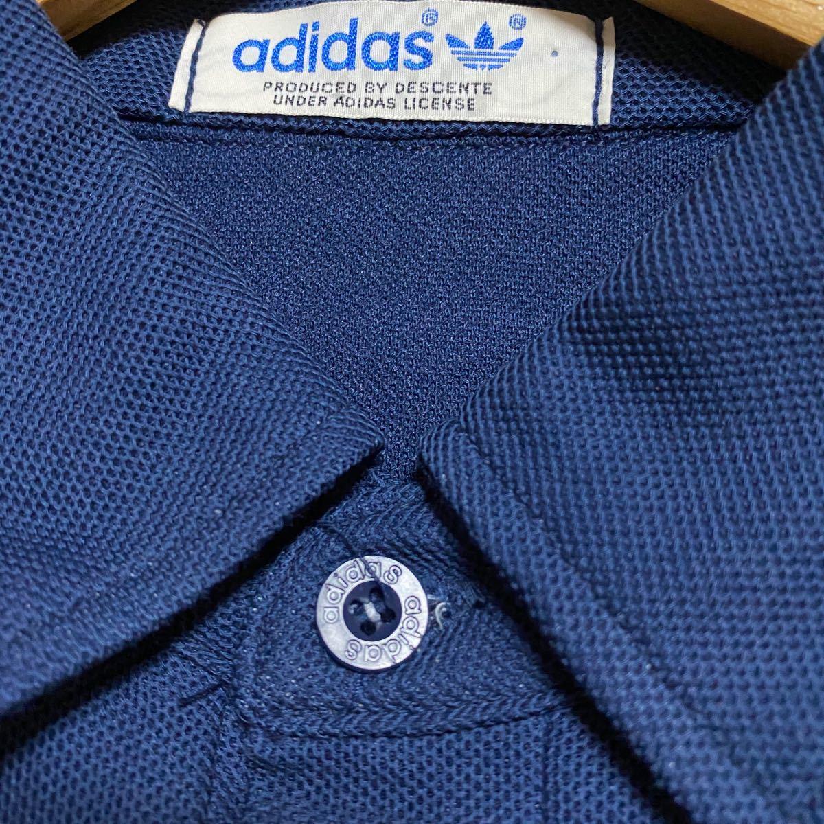 adidas アディダス 80s  ポロシャツ デサント 製 トレフォイル