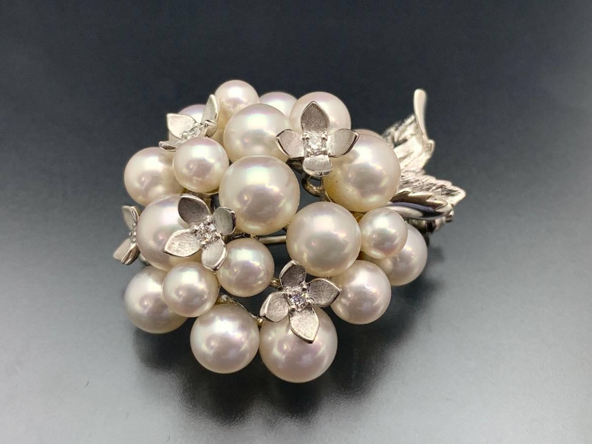 1円~美品 ミキモト MIKIMOTO K18 WG 重さ約17.1g 本真珠 パール メレダイヤ 花柄モチー