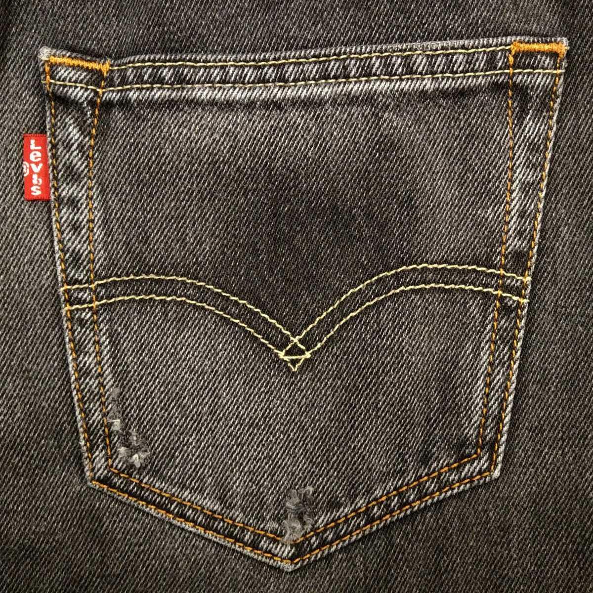 ヒゲ&タテ落ち Levi's 501 ブラック デニム ショートパンツ W30 78cm リーバイス ボタンフライ ハーフパンツ 短パン ショーツ(511/502/569)