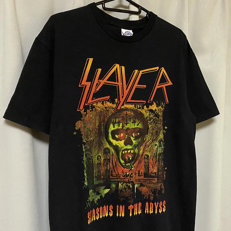 SLAYER スレイヤー スラッシュメタル ロック バンドTシャツ 00s Metal 黒ブラック M レア SEASONS IN THE ABYSS ビンテージ ホンジュラス製_画像3