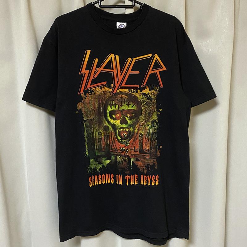 SLAYER スレイヤー スラッシュメタル ロック バンドTシャツ 00s Metal 黒ブラック M レア SEASONS IN THE ABYSS ビンテージ ホンジュラス製_画像2