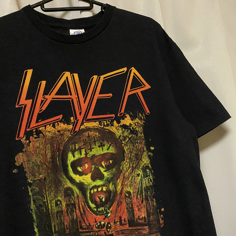 SLAYER スレイヤー スラッシュメタル ロック バンドTシャツ 00s Metal 黒ブラック M レア SEASONS IN THE ABYSS ビンテージ ホンジュラス製_画像1