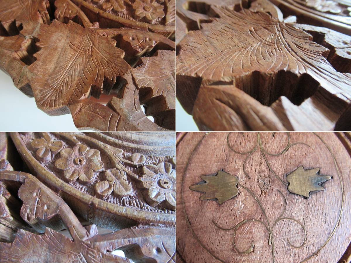 彫刻の木製花台/飾り台 ★ 天盤直径30cm・厚さ2㎝/ 高さ27.5㎝_画像9