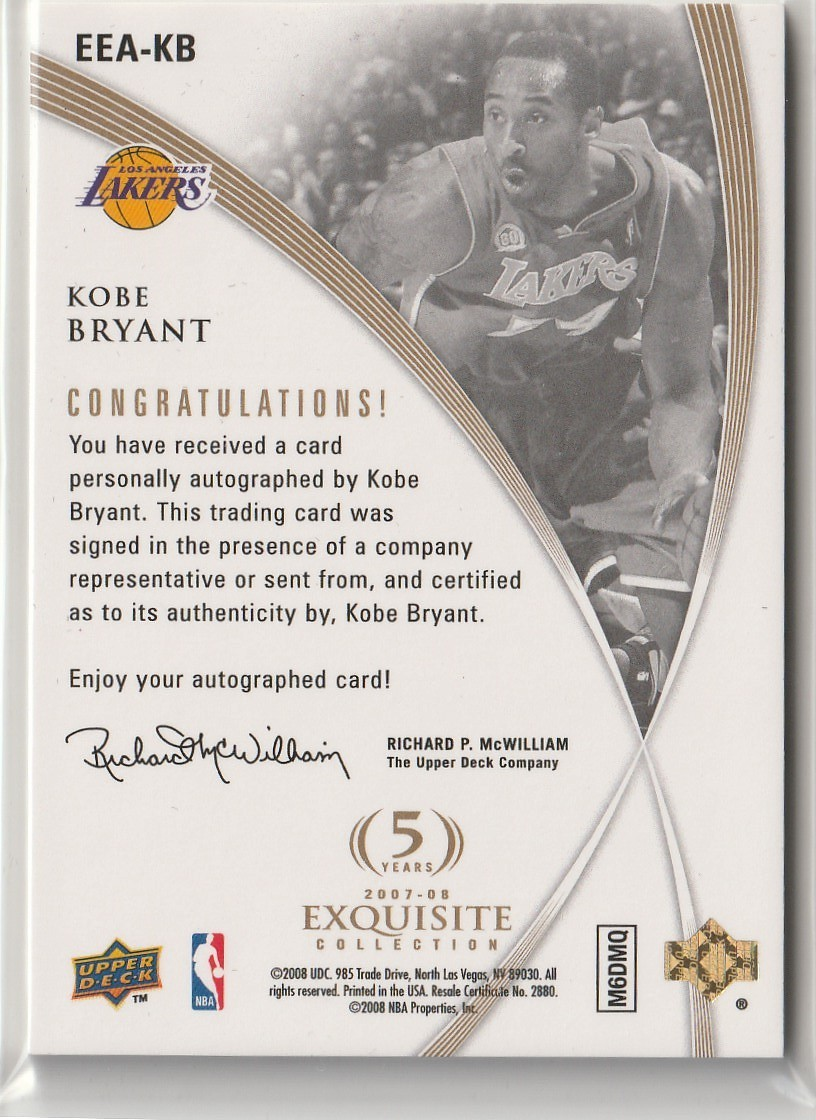 2007-08 UD EXQUISITE Kobe Bryant EXCLUSIVES Autograph 直筆サインカード #08/24 JERSEY NUMBER LAKERS_画像2