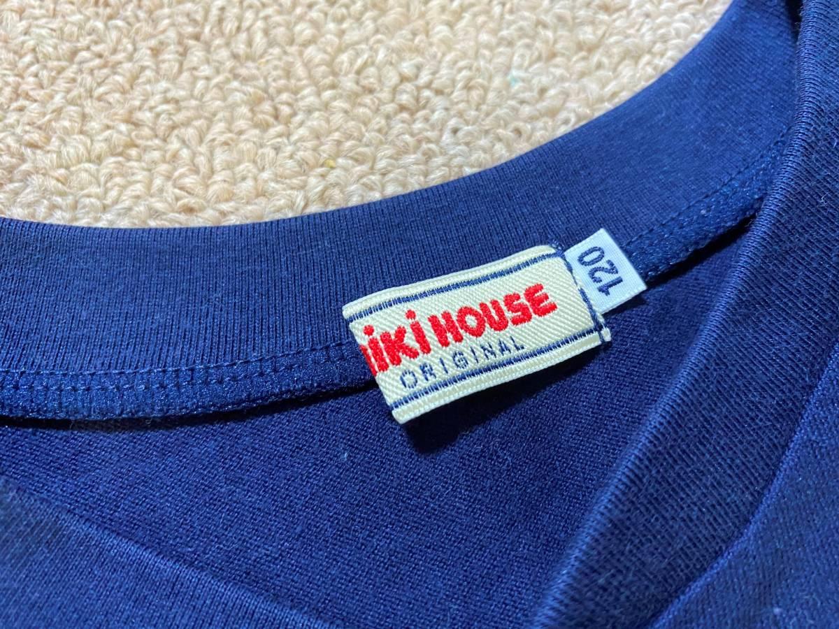 激安!MIKIHOUSE ミキハウス ワンポイント シンプル ボタン ロンT 長袖 Tシャツ ネイビー 120/プッチー くま 無地_画像2