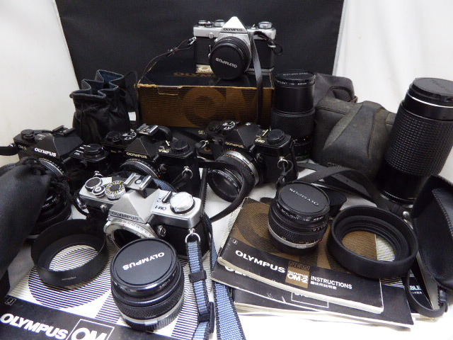 250☆オリンパス ジャンク扱 OM-2/OM-1/1.8 50mm/2.8 35mm/2.8 24mm/Tokina 80-200/1:4 7