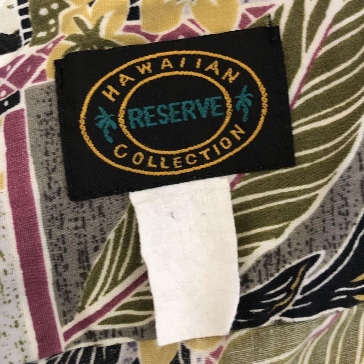 アロハシャツ HAWAIIAN RESERVE Collectionハワイアンリザーブコレクション メンズL相当 木製ボタン ハワイ製 グリーン基調
