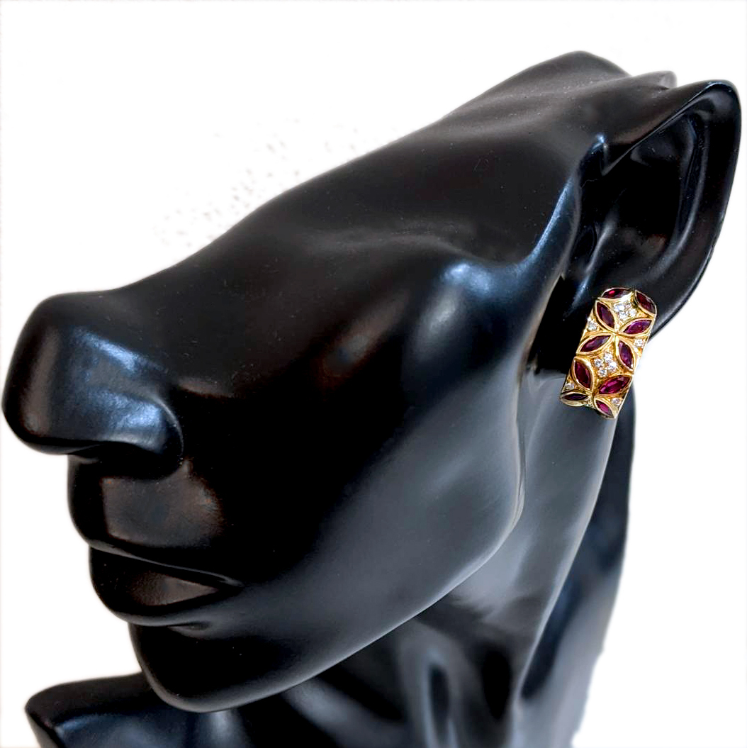 F2219【Dior】ディオール ルビー 絶品ダイヤモンド 最高級18金無垢セレブリティイヤリング 総重量13.5g 幅22.9×10.6mm_画像5