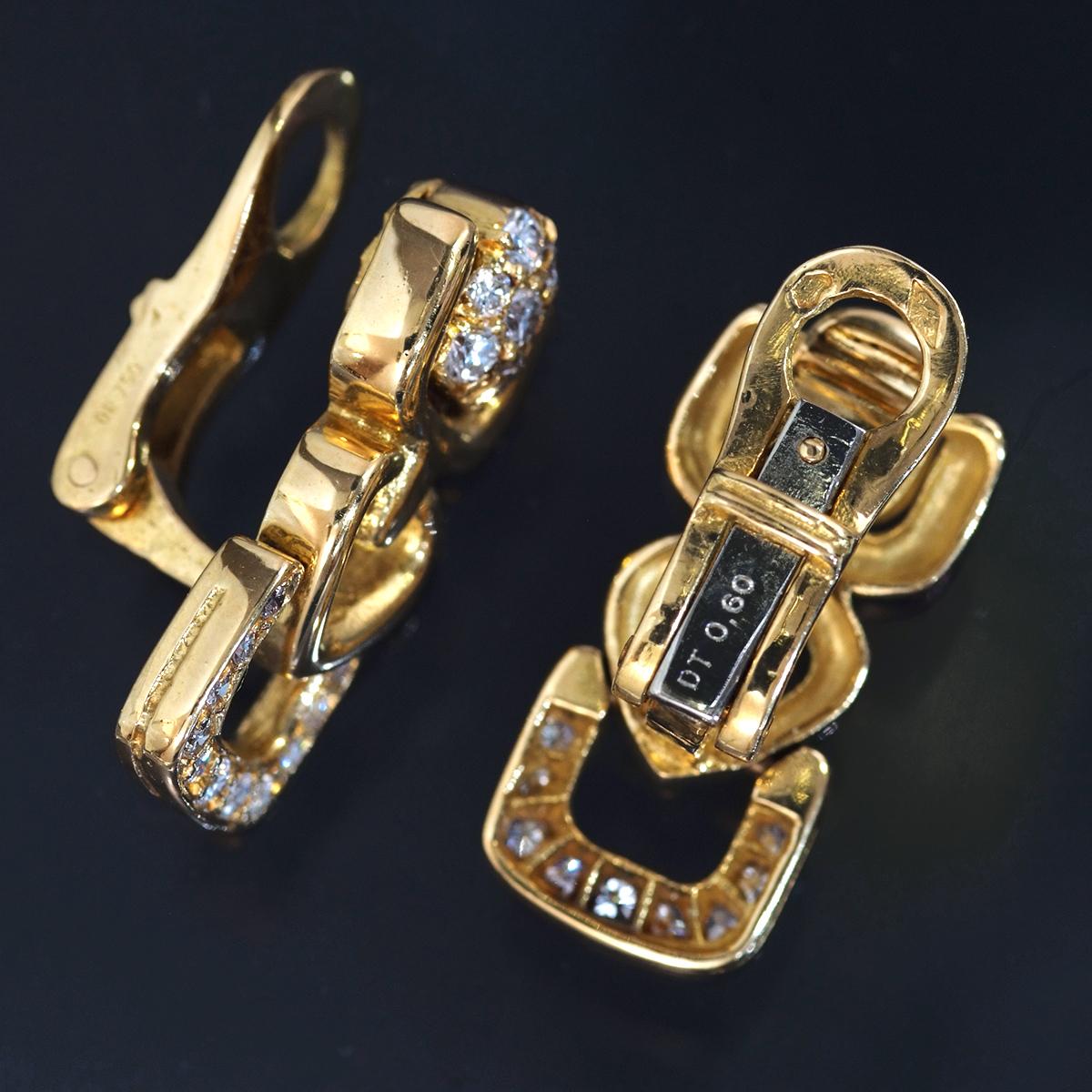 F1774【Made in France】フランス製 天然絶品ダイヤモンド1.20ct 最高級18金無垢イヤリング 重量9.8g 幅20.8×9.5mm_画像2