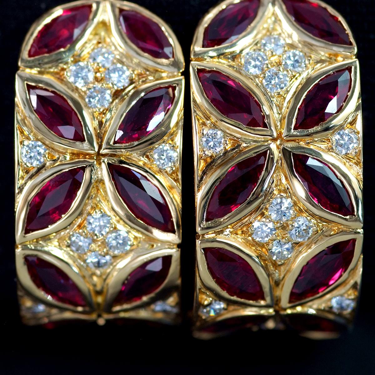 F2219【Dior】ディオール ルビー 絶品ダイヤモンド 最高級18金無垢セレブリティイヤリング 総重量13.5g 幅22.9×10.6mm_画像2
