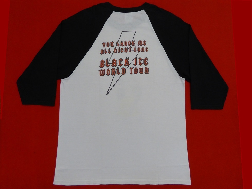 激レア!AC/DC/ビンテージTシャツ(ラグラン七分袖)/00s/anvil/2009/BLACK ICE WORLD TOUR/ワールドツアー/バンド/ACDC/ガール/セクシー_画像3