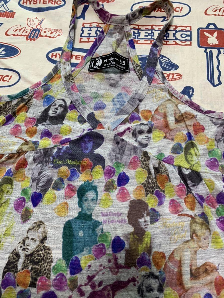 hysteric glamour ヒステリックグラマー アンディウォーホール 鋲付き ロングキャミソール チュニック ワンピース ヒスミニ パンク ロック