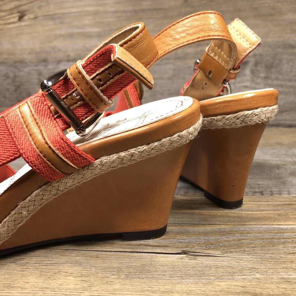 ■REGAL■ 23cm オレンジ リーガル サンダル レディース ウェッジソール 靴 くつ 中古 宅急便 即決_画像6