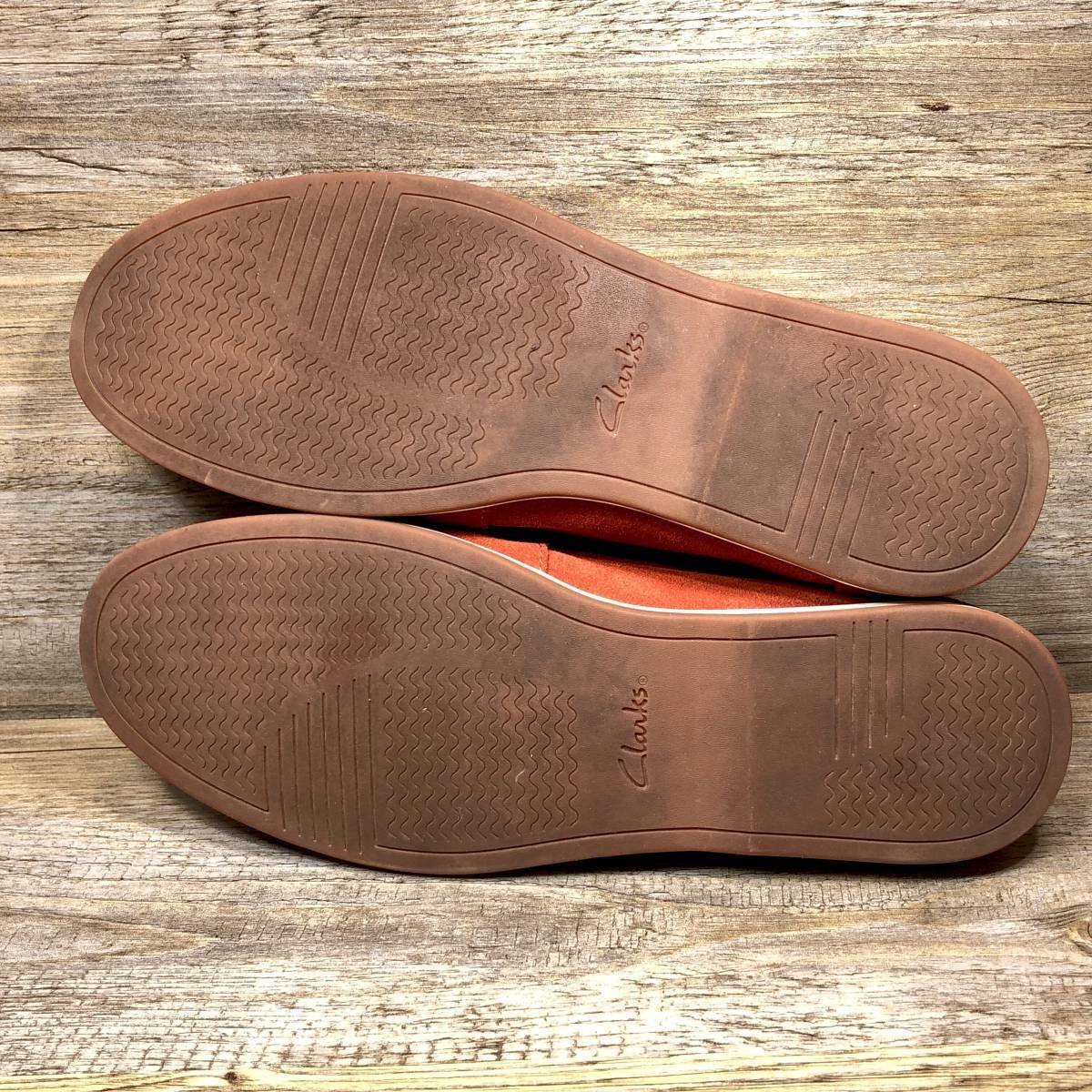 ■Clarks■ 26cm UK7.5 赤 レッド クラークス スリッポン ローファー メンズ 靴 革靴 天然皮革 くつ 中古 宅急便 即決_画像6