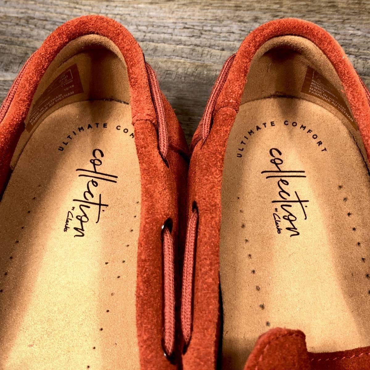■Clarks■ 26cm UK7.5 赤 レッド クラークス スリッポン ローファー メンズ 靴 革靴 天然皮革 くつ 中古 宅急便 即決_画像7