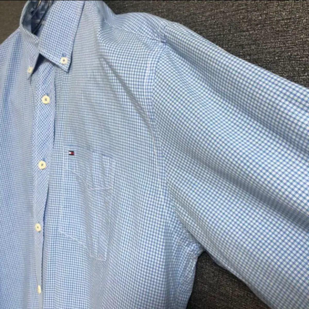 トミーヒルフィガー シャツ 長袖 ビッグシルエット ゆるダボ ワンポイント刺繍