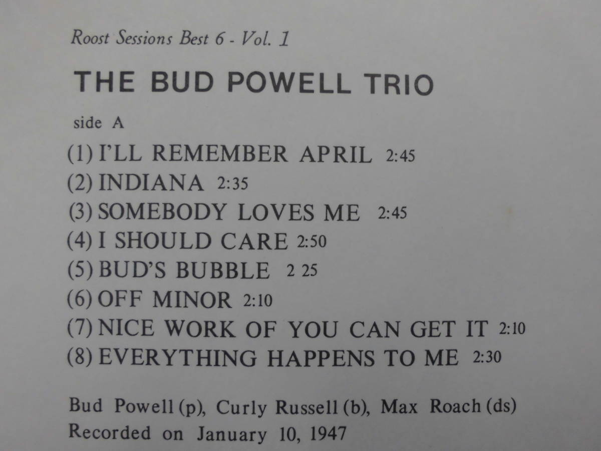 良盤屋 J-1684◆LP◆SL-5044-RO-Jazz  バッド・パウエル・トリオ The Bud Powell Trio The Bud Powell Trio  送料380_画像4