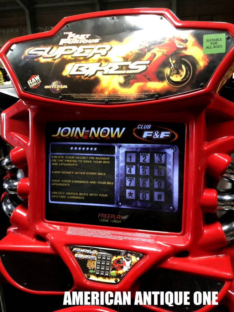 久しぶりの2日間限定価格★遊べます^^ロサンゼルス直輸入 ワイルド・スピードシリーズ / スーパーバイク レーシングアーケードゲーム_画像3