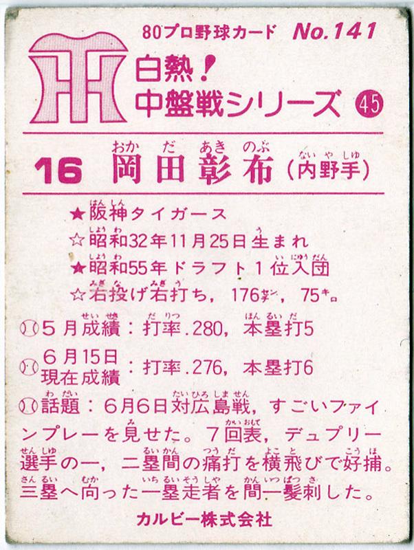 カルビー プロ野球チップスカード 1980年 No.141 岡田彰布(阪神タイガース)_画像2