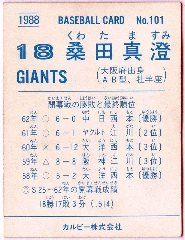 カルビー プロ野球チップスカード 1988年 No.101 桑田真澄(巨人) 栄えある開幕投手_画像2