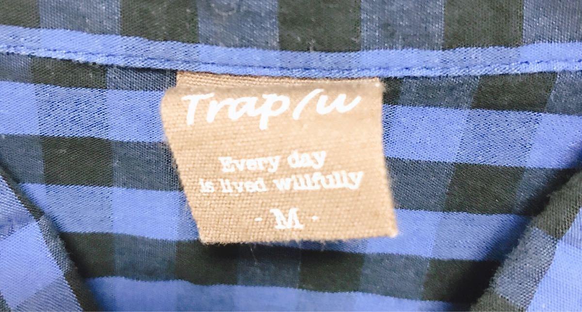 メンズ Mサイズ チェックシャツ ネルシャツ 青チェック 柄シャツ TRAP/U