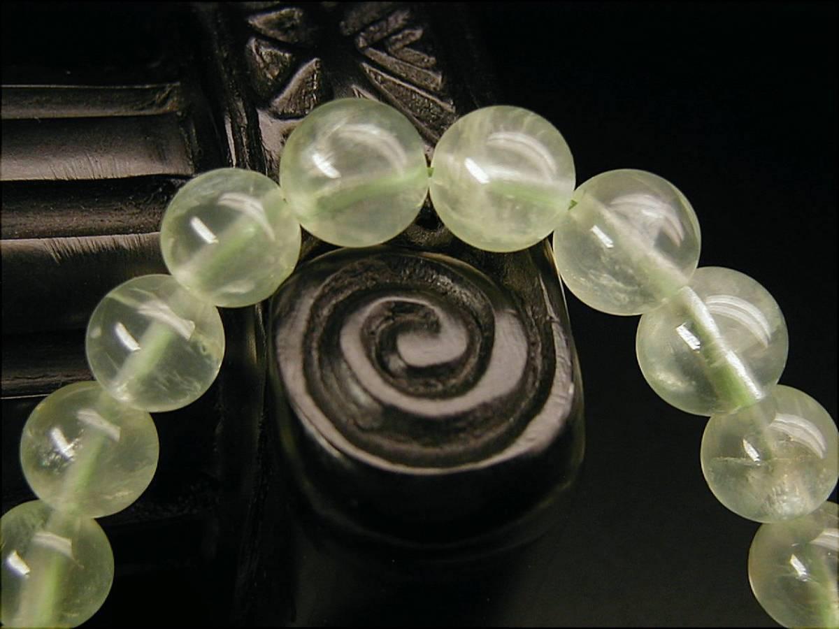 ♪即決【壽】直径8.5mm天然最高AAA級極品大粒緑碧柳石ブレス_画像2