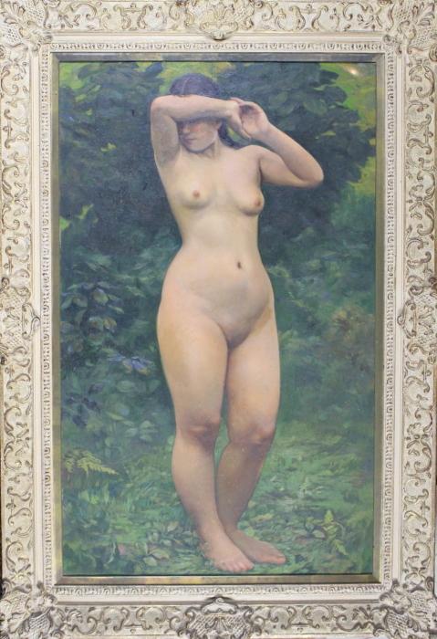 服部喜三 裸婦 油彩画 1938年作 真作保証 M40号 鹿子木孟郎に師事