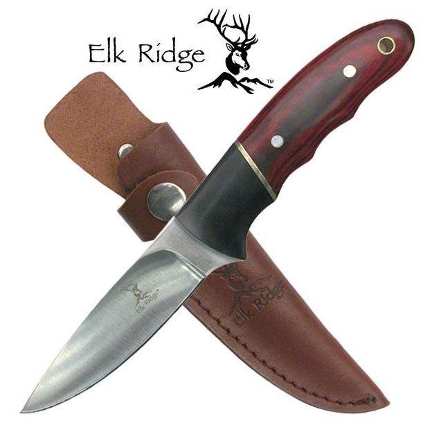 【即落送料無料】小型で頑丈な作りで実用的な Elk Ridge アウトドアナイフ 440ステンレススチール パッカーウッドハンドル