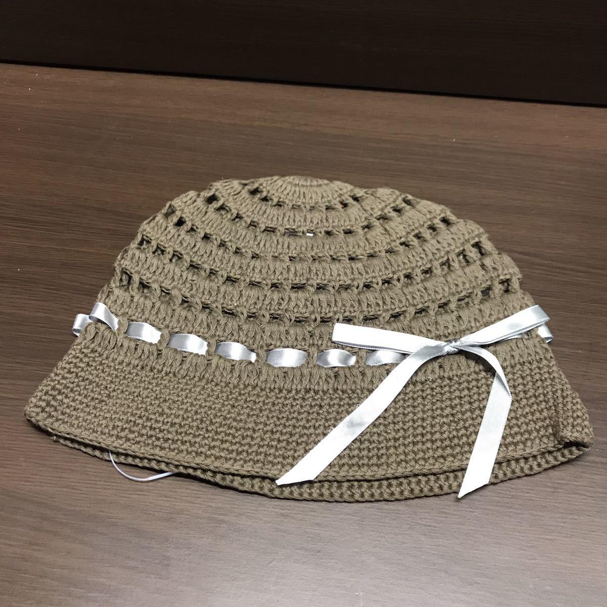 未使用 コットンニットキャップ レディース ブラウン系 リボンのワンポイントニット帽 ハンドメイド_画像1