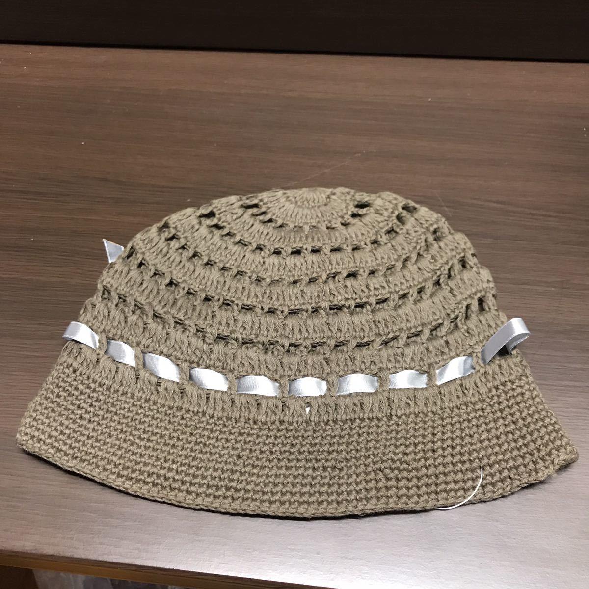 未使用 コットンニットキャップ レディース ブラウン系 リボンのワンポイントニット帽 ハンドメイド_画像2