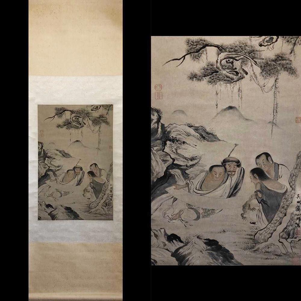 【◆熙】HZ067【真作】中国書画 『明代・ 呉彬・ 松蔭賞図』絹本 肉筆保証・掛け軸 中心部70cm×48cm
