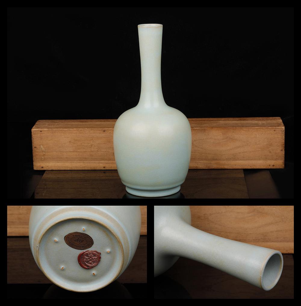 HZ001古陶磁器・宋 汝窯・天青釉高頸瓶 古賞物・中国古玩 高さ28cm