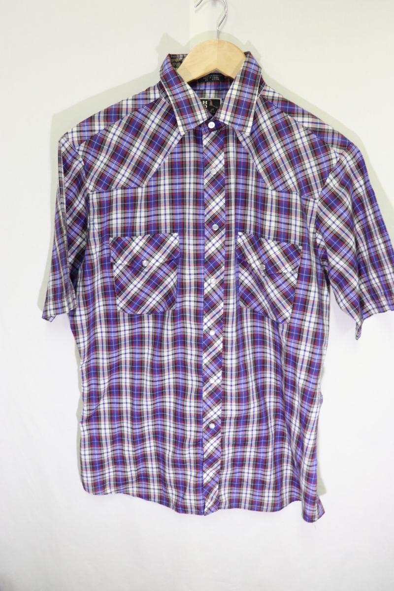 【メンズ】【良品保証返品OK】HOLTチェック半袖ウエスタンシャツ/アメカジビンテージ古着紫M_画像2