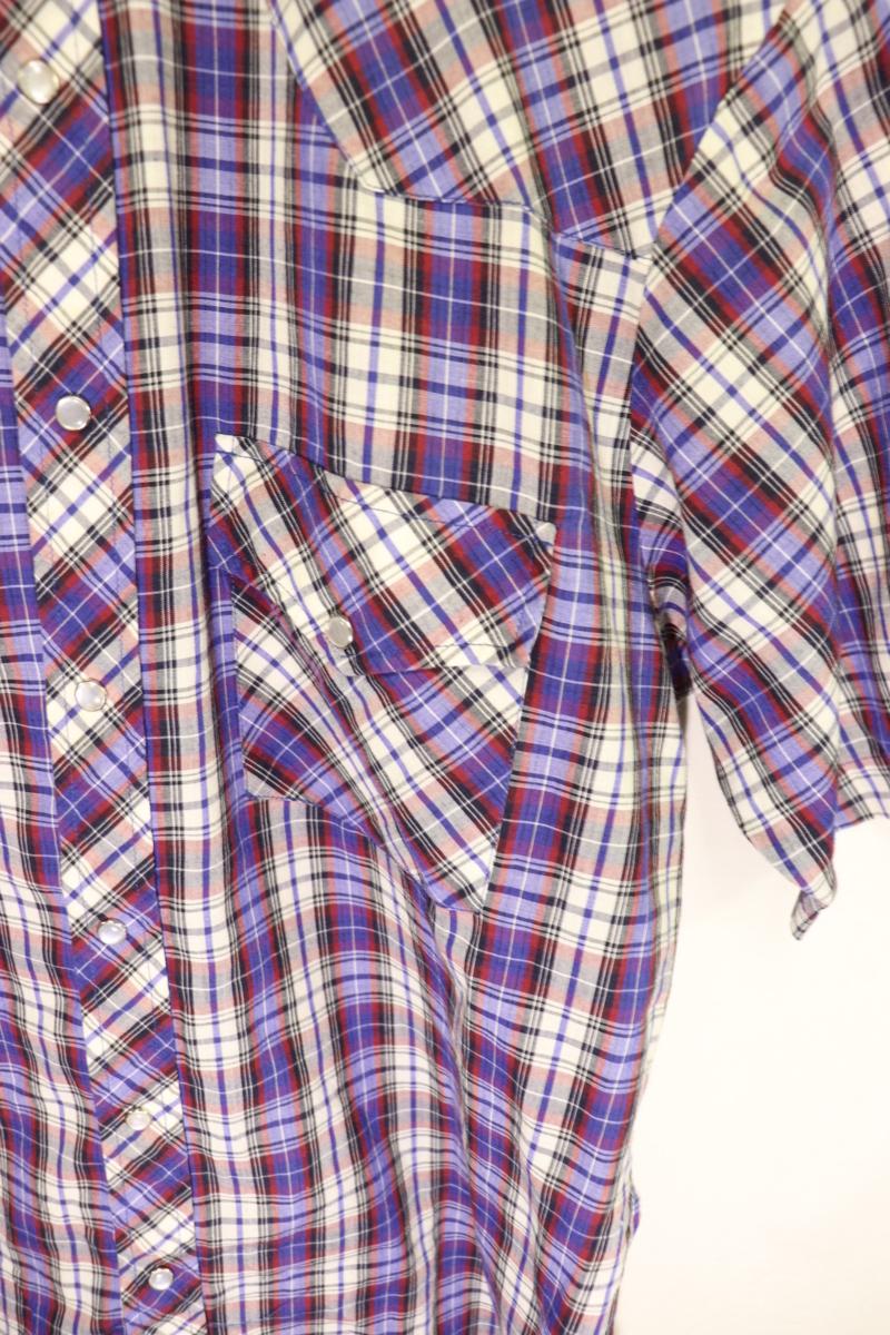 【メンズ】【良品保証返品OK】HOLTチェック半袖ウエスタンシャツ/アメカジビンテージ古着紫M_画像3