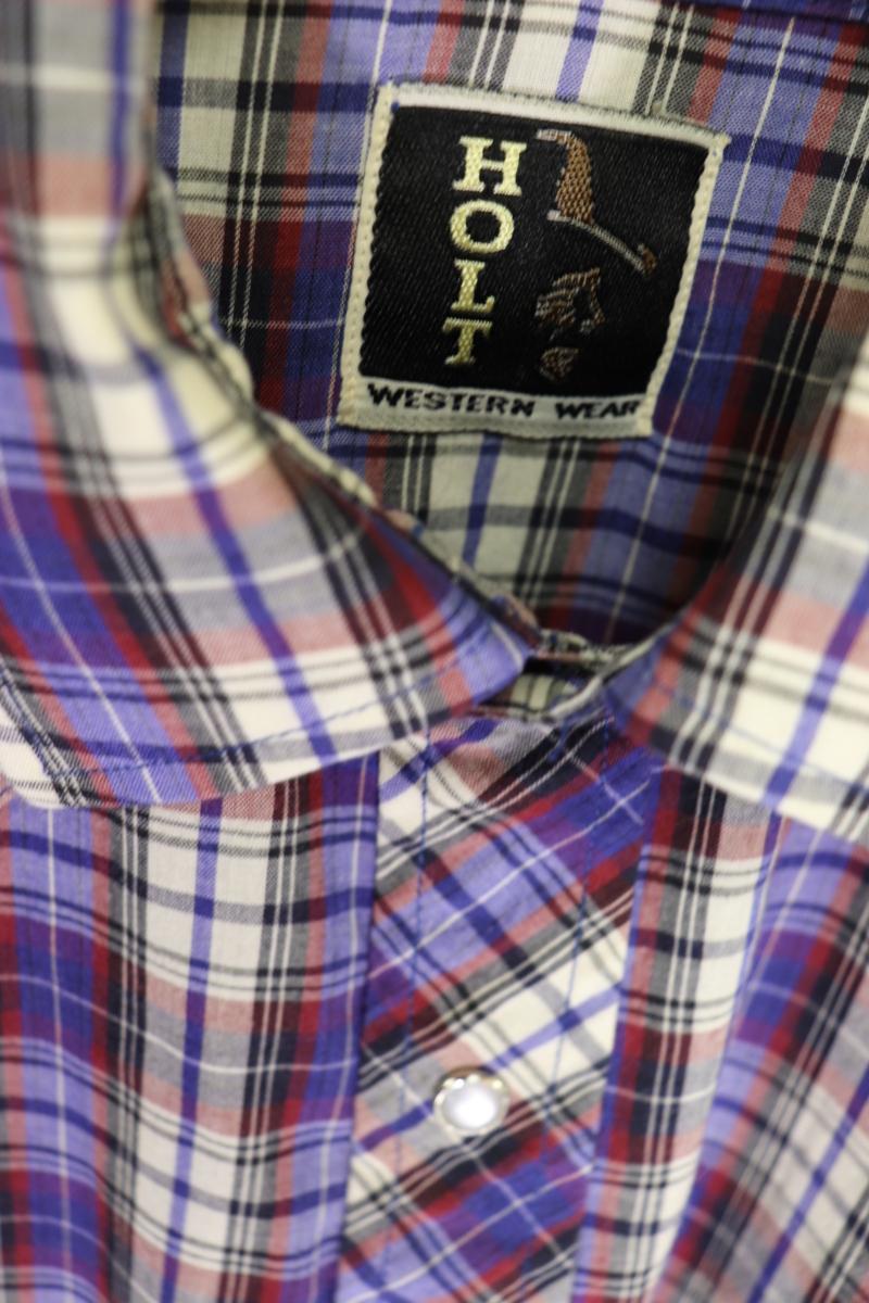 【メンズ】【良品保証返品OK】HOLTチェック半袖ウエスタンシャツ/アメカジビンテージ古着紫M_画像4