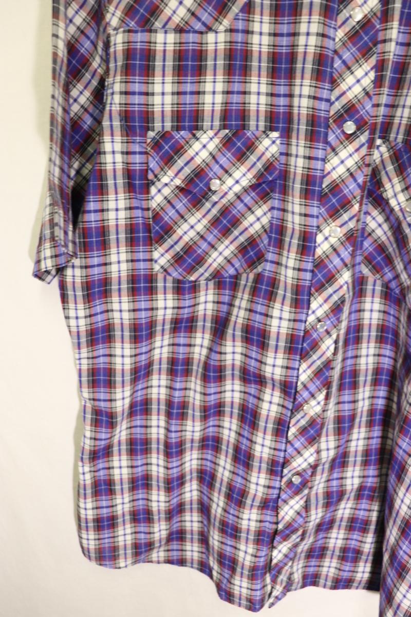 【メンズ】【良品保証返品OK】HOLTチェック半袖ウエスタンシャツ/アメカジビンテージ古着紫M_画像5