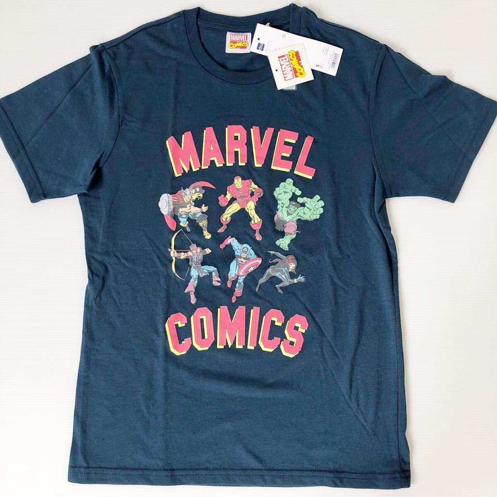 マーベルヒーロー marvel メンズ Tシャツ S新品AMERICAN KIDS スーパーヒーロー ジーユー 速乾 形崩れしにくい ネイビー