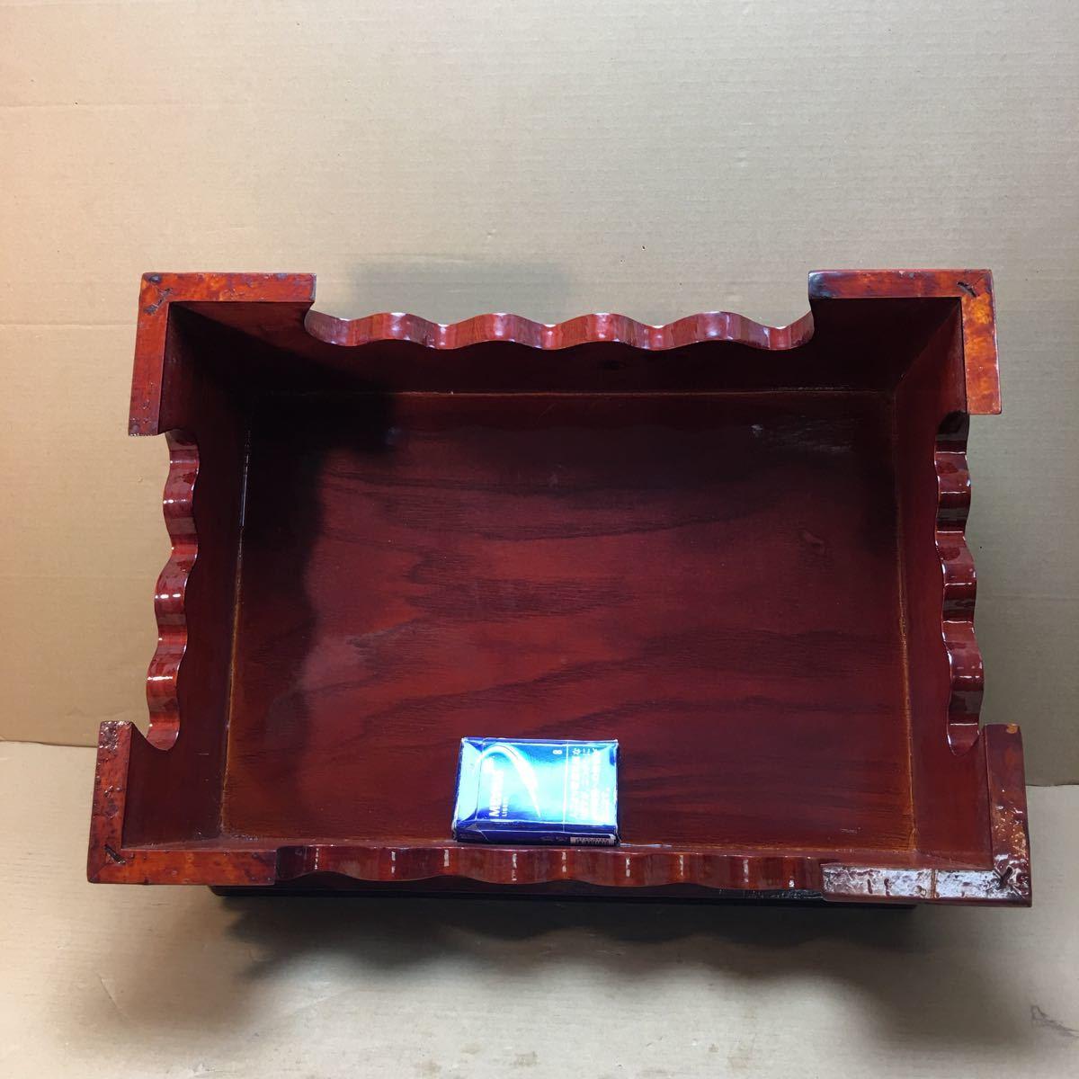 中国美術 漆塗蘭花装飾花台 長方花台 飾り台 盆栽台 香炉台 華道具 茶道具 45×33×16cm_画像7
