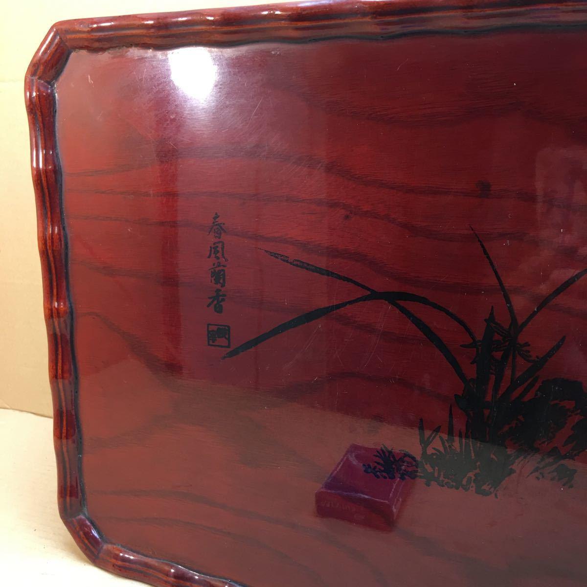 中国美術 漆塗蘭花装飾花台 長方花台 飾り台 盆栽台 香炉台 華道具 茶道具 45×33×16cm_画像3
