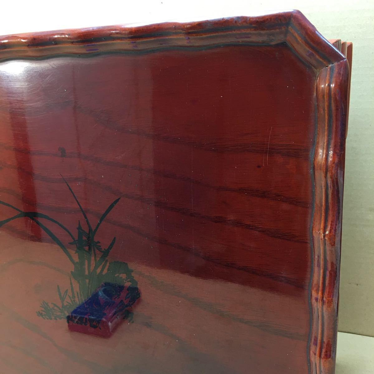 中国美術 漆塗蘭花装飾花台 長方花台 飾り台 盆栽台 香炉台 華道具 茶道具 45×33×16cm_画像4