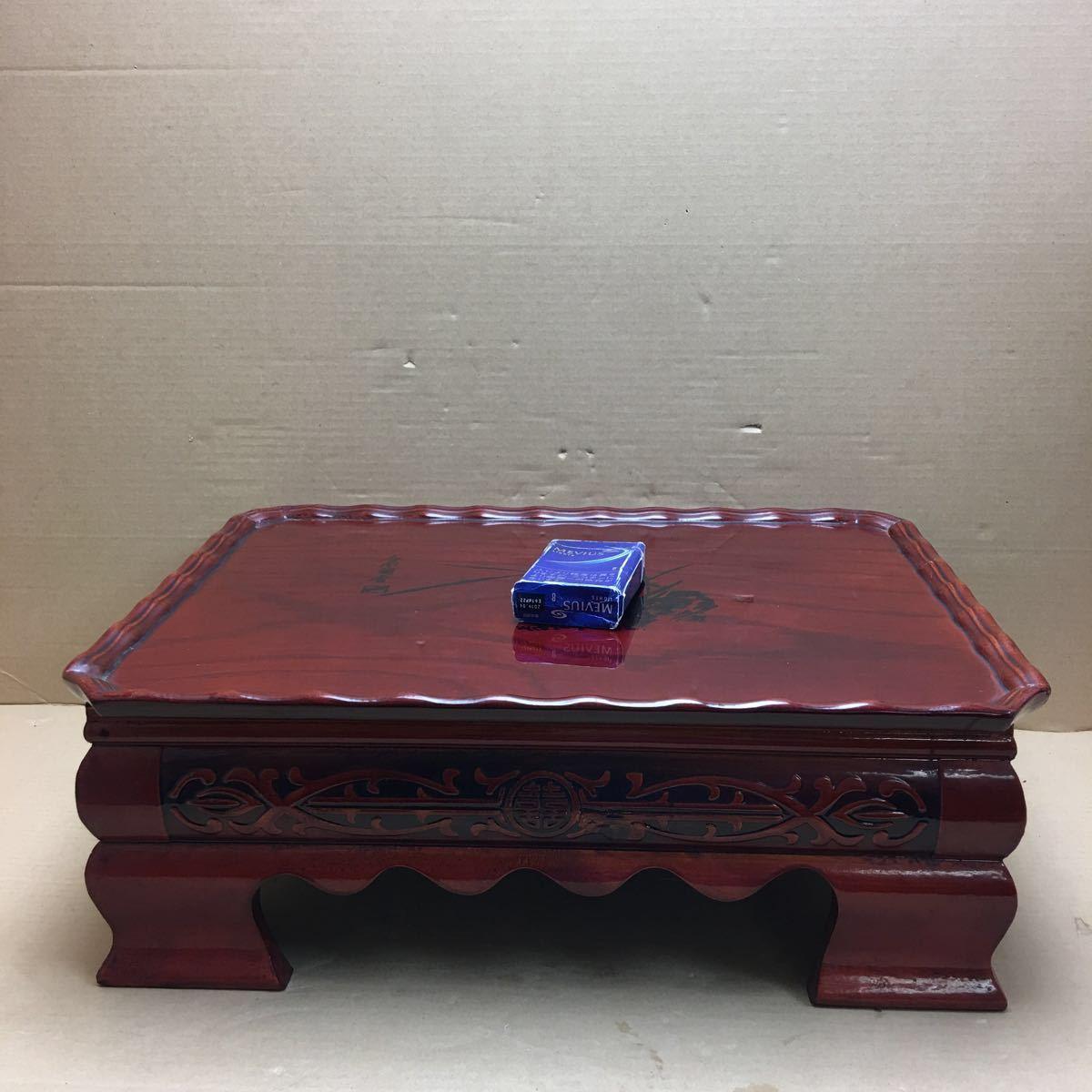 中国美術 漆塗蘭花装飾花台 長方花台 飾り台 盆栽台 香炉台 華道具 茶道具 45×33×16cm_画像1