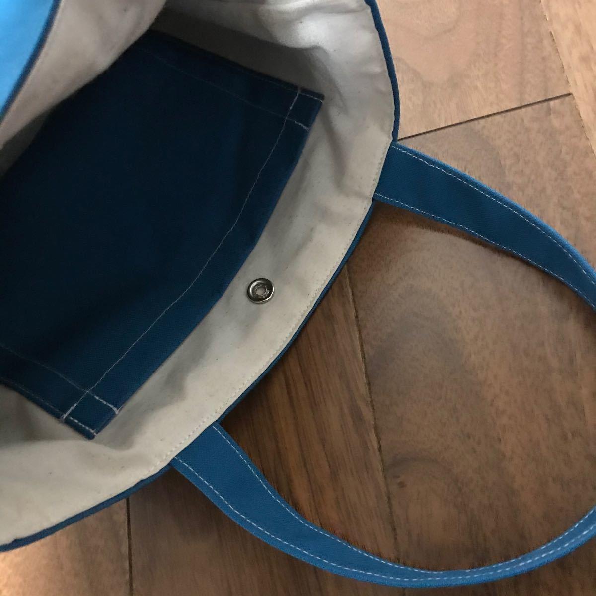 ハンドメイド 11号帆布 トートバッグ ランチバッグ 無地ターコイズブルー